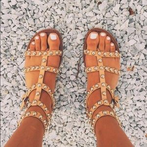 Tan Sam Edelman Gold Studded Sandals, Size 6.5